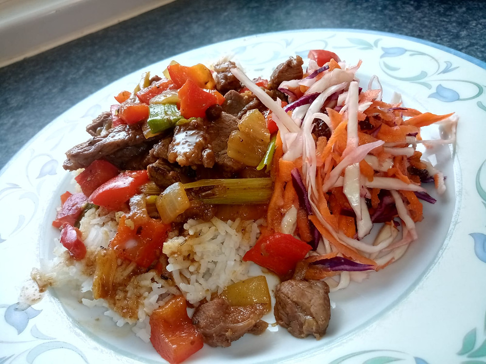 Pepper Steak with Rice and Homemade Coslaw