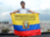 Art warning the world, Ecuador - Apitatan and his flag with the Klaus Guingand sentence in Spanish / Black paint / Signed