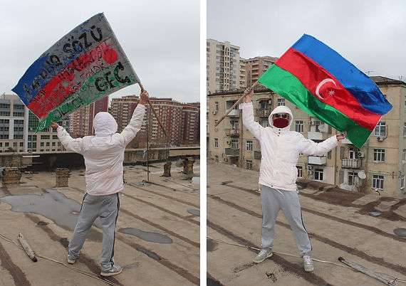 "Art warning the World - Azerbaijan -  Krilov ""ne 100"" Yunis and his flag with the Klaus Guingand sentence in Azeri / Black & white paint / Signed"