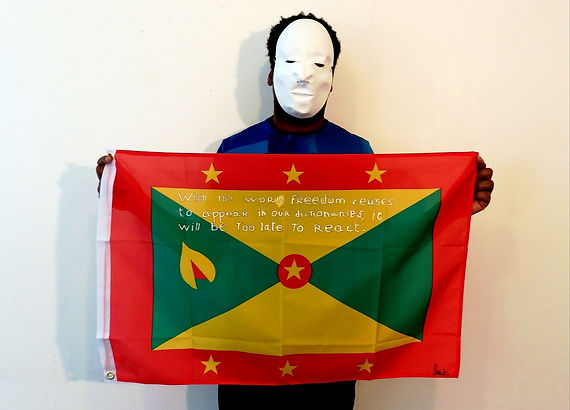 Art warning the World, Grenada - Harold and his flag with the Klaus Guingand sentence in English / White paint / Signed