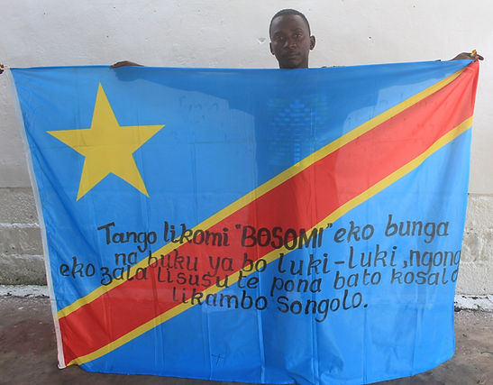 Art warning the world, Republic Democratic of Congo - Saint Sadi and his flag: 59 x 78,74 inches / Sentence in Lingala / Black paint / Signed