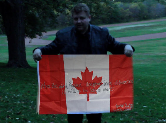 Art warning the World / Canada - George O. Dewitte and his flag with the Klaus Guingand sentence in English