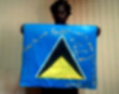 Art warning the World, St. Lucia - Gary Butte and his flag with the Klaus Guingand sentence in English / Flag: 23,62 x 23,62 in. / Sentence white paint / Signed
