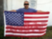 United States - M... andhis flag with the Klaus Guingand sentence in American/ Flag: 35,5 x 59 in./ Sentence red stencil / Signed