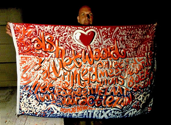 Art warning the World, Netherlands - Toshy and his flag with the Klaus Guingand sentence in Dutch / Painting / Signed