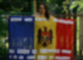 Art warning the World, Moldova  - Tatiana Fiodorova and her flag with the Klaus Guingand sentence in Moldovan / Sticky paper / Signed