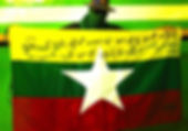 Art warning the World / Burma - Ultra Sonic and his flag with the Klaus Guingand sentence in Burmese.