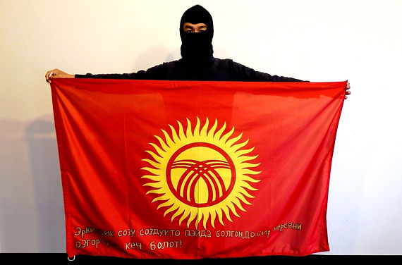 Art warning the World, Kyrgyzstan - Makcat and his flag with the klaus Guingand sentence in Kyrgyz / Gold paint / Signed