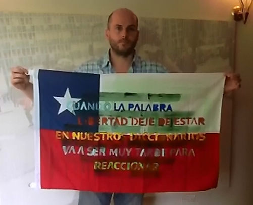 Art warning the world, Chile - Andreas Von Gehr and his flag: 23 x 35,4 inches / Sentence in Spanish / White, blue, red & yellow paint / Signed