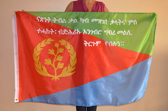 Art warning the world, Eritrea -  Natsnet and her flag with the Klaus Guingand sentence in Tigrinya / White paint / Signed
