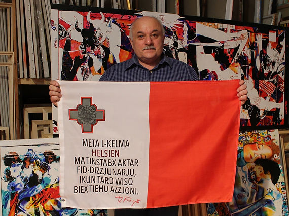 Art warning the World, Malta - Ray Piscopo and his flag with the Klaus Guingand sentence in Maltese / Flag: 23 x 35,4 in./ Sentence digital printing / Signed