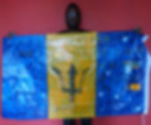 Art warning the World, Barbados - Kraig Yearwood and his flag and with the Klaus Guingand sentence in English / Black, yellow & blue paint / Signed