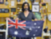 Art warning the World, Australia - Stormie Mills and his flag with the Klaus Guingand sentence in English / Gray & white paint / Signed