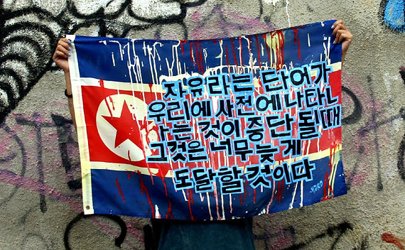 Art warning the World, North Korea - Hardchick and her flag with the Klaus Guingand sentence in Korean / Serigraphy & paint / Signed