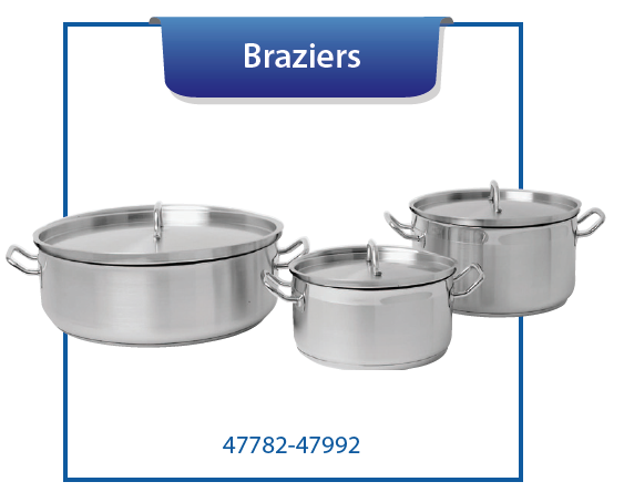BRAZIERS WITH COVERS, INDUCTION CAPABLE