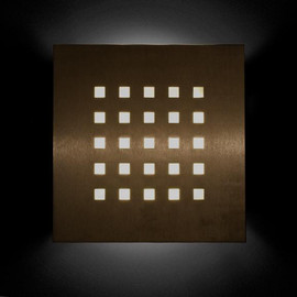 Square² Wall Sconce Bronze Lit