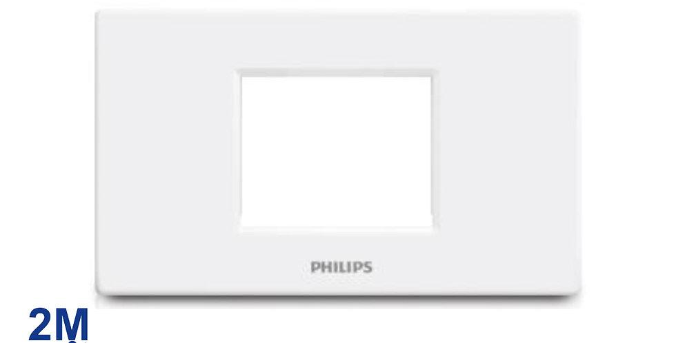 PHILIPS หน้ากาก สวิทช์ ปลั๊ก ฝา 2 ช่องติด ฟิลิปส์ รุ่นลีฟ LEAFSTYLE 2M CENTER