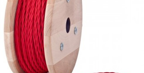 2T-RED(สายไฟถักวินเทจบุผ้าสีแดง)