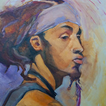 """Bohemian 20""""x16"""" w/frame,Oil on Canvas,2018 $400"""