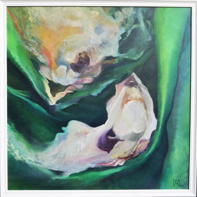 "The Dance of Rebirth Oil on Linen, ""28 x 28"" (includes 2"" white, beveled frame), 2017 $450  Through my decision to enlarge and then to distort edges of the conch shells in ""Yoniversal Grace"" and the oysters within ""The Dance of Rebirth"" these oil paintings visually show how exaggeration of form and enlarging the actual scale of the shells can enhance my message of inspiring my viewers to be more environmental aware. Metaphorically the way the shells are dissipating in and out of each other show the process of recycling. By combining my love of observational painting and then escaping to a place of creative freedom I create spiraling, sensual images of nature."