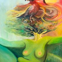 "Phoenix Rebirth 48""x 36"", w/frame,Oil on Canvas,2018 $1000"