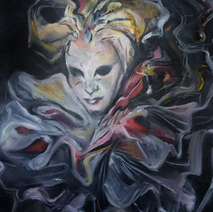 """Harlequin  20"""" x 24"""" Oil on Canvas 2018"""