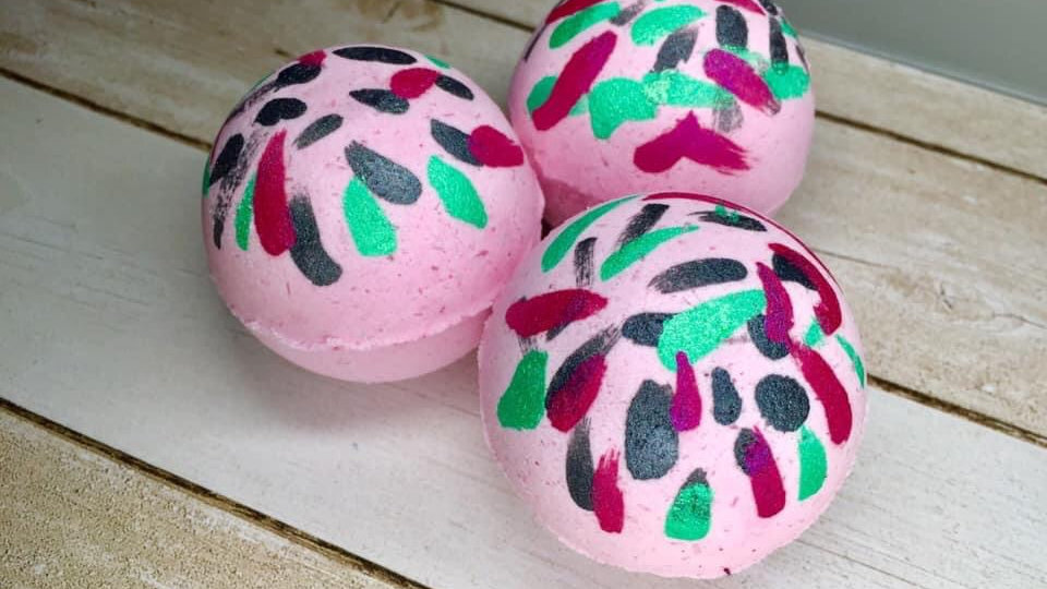 Watermelon Surprise Gemstone Bath Bombs