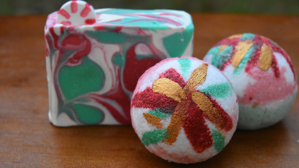 Hand Painted Surprise Peppermint Bath Bomb and Soap