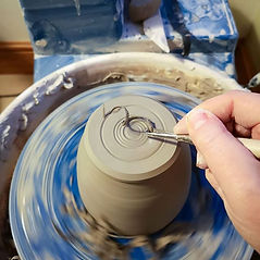 Trimming a pot on Shimpo Aspire pottrs wheel. Studio LP Ceramics