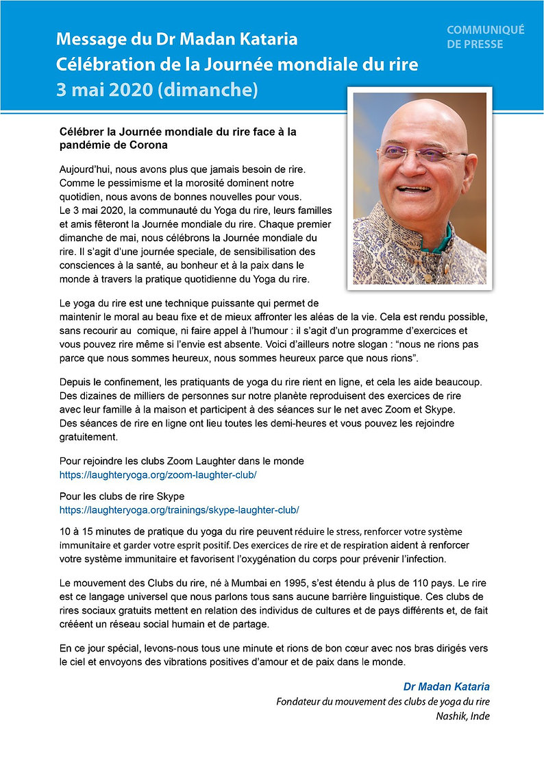 communiqué presse Madan Kataria yoga du