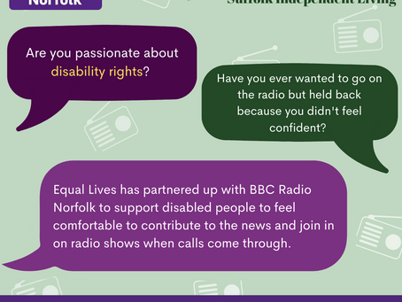 Equal Lives and BBC Radio Norfolk partner up to ensure disabled people's voices are heard