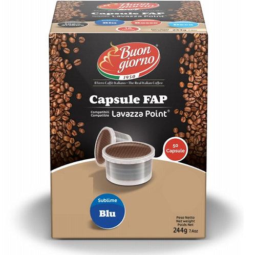 Capsule compatibili Lavazza FAP, miscela di caffè Sublime Blu a marchio Caffè Buongiorno