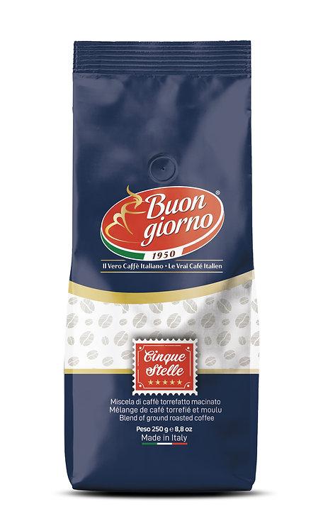 Caffè in grani, miscela 5 stelle a marchio Caffè Buongiorno