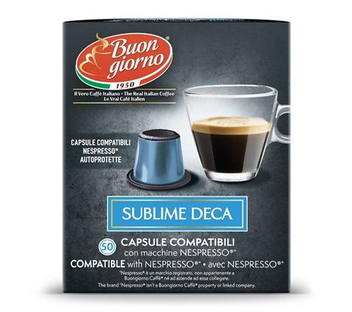 Nespresso Sublime Decaffeinated capsules branded Caffè Buongiorno