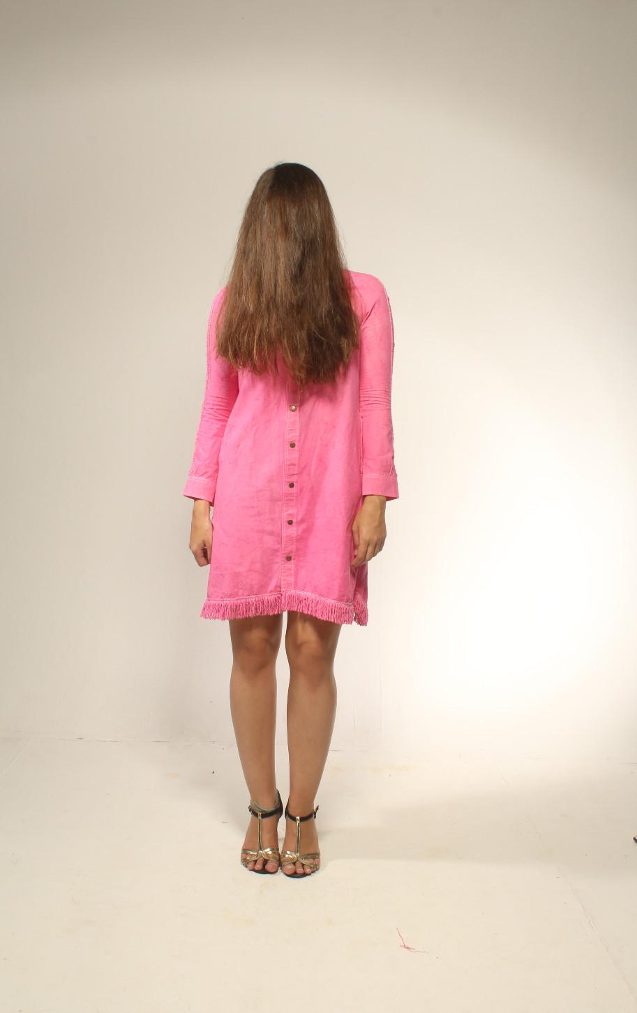 Artur Pink Cotton Dress Photographed by Artur Vilela