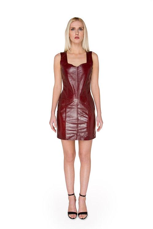 Oxblood Leather Dress