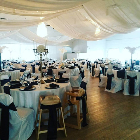 Hundreds of seats and place settings for this wedding.