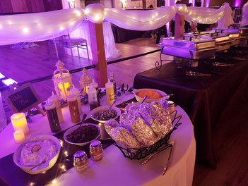 Purple wedding buffet. Catering by Chef Mike Industries