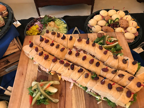Extra large sub sandwiches for corporate catering events by Chef Mike.