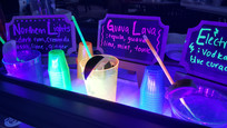 Really fun, glow in the dark themed cocktails for a private party.