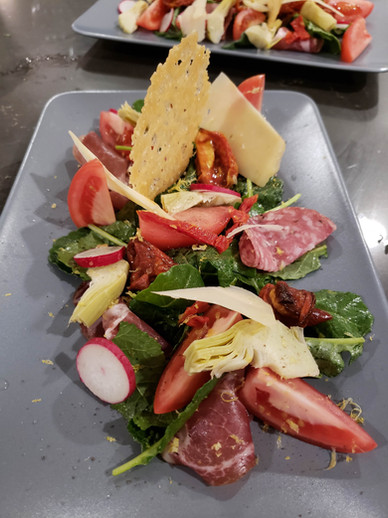 Presentaion of an antipasto salad for a private chef dinner by Chef Mike Donnerstag