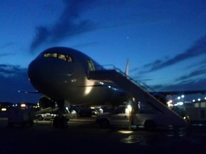 Airplane at night