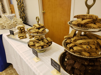 Dessert display of various pastries for an event.