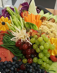 Organic fruit and veggies in a beautiful arrangement by Chef Mike.