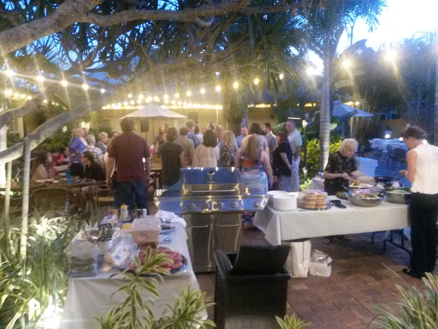 Outdoor buffet under the tropical foilage of Florida's nature.
