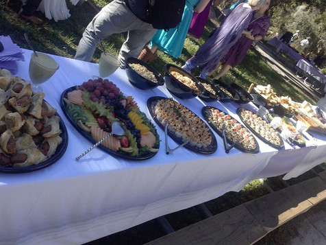 A buffet laid out for an event, made by Chef Mike.