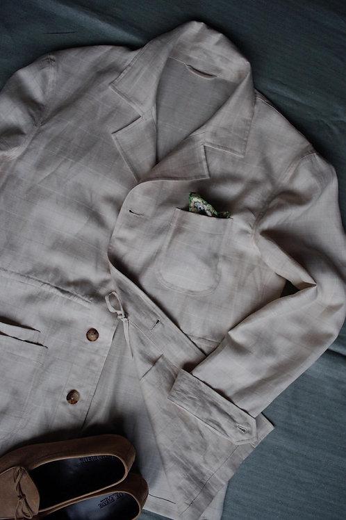 Beige Windowpane Linen Caribbean Overshirt Jacket
