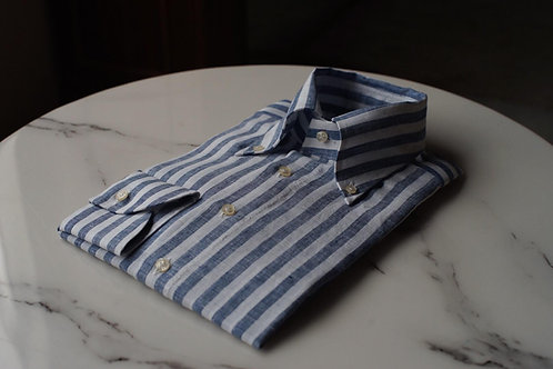 Blue Linen Bold striped Shirt