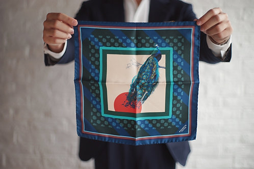 The Gaudery - The morning peacock pocket square