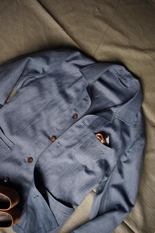 Sky Blue Linen Caribbean Overshirt Jacket
